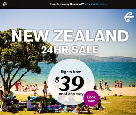 air new zealand sale email