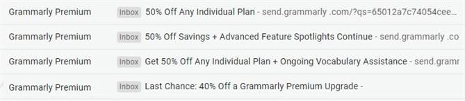 Grammarly pricing promotion 50% off offer