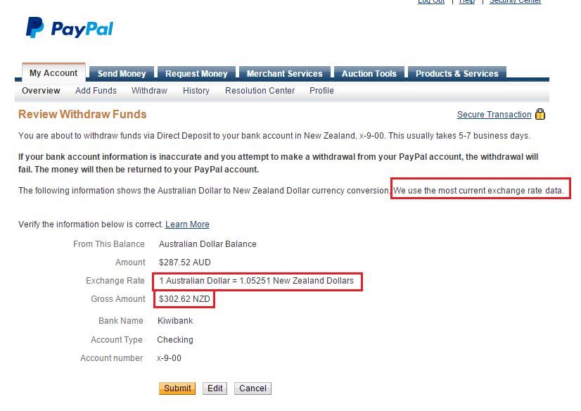 paypal fees transfer intl